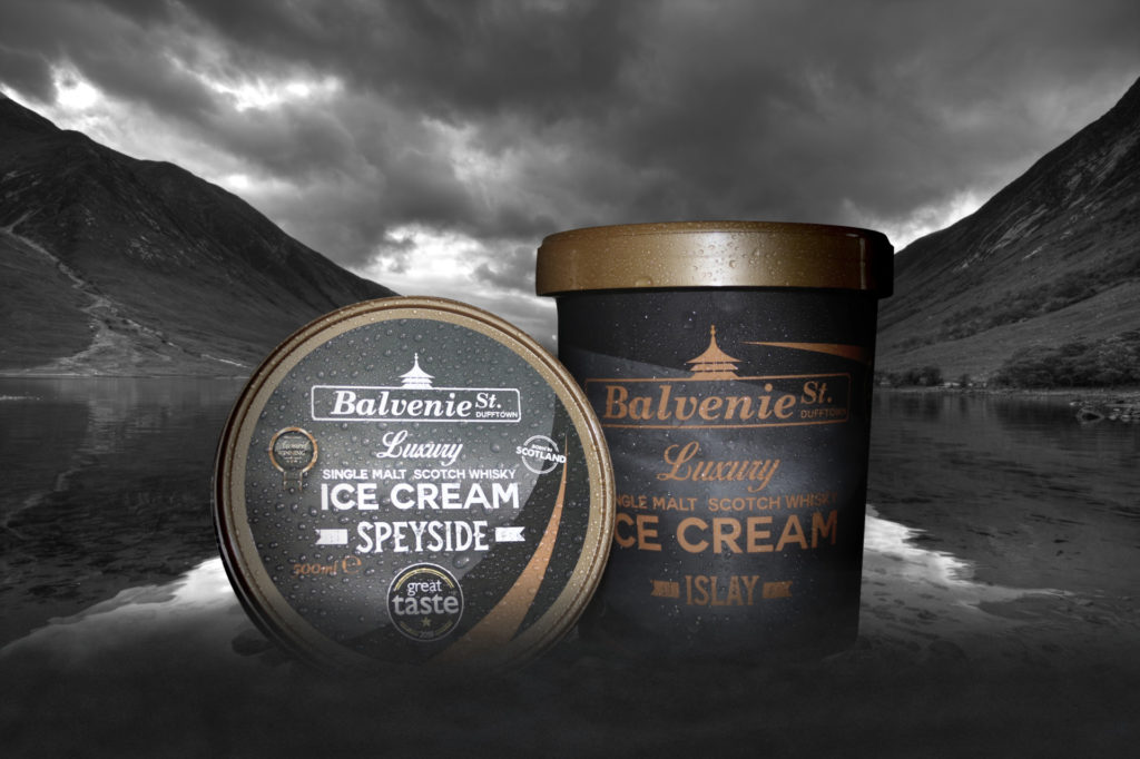 Award winning luxury single malt Balvenie St. Ice cream available in Dufftown from Speyside Cottages